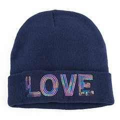 Women's Mudd® Sequined 'Love' Beanie