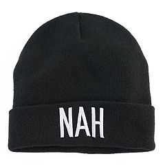 Women's Mudd® Embroidered 'Nah' Beanie