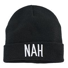 Women's Mudd® Embroidered 'Nah' Beanie