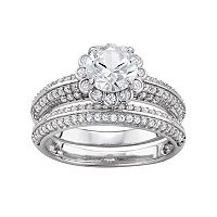 Sterling Silver Lab-Created White Sapphire Flower Engagement Ring Set