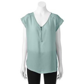 Juniors' My Michelle Lace Yoke Top