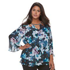 Plus Size Jennifer Lopez Embellished Triple Cut-Out 3/4-Sleeve Floral Top