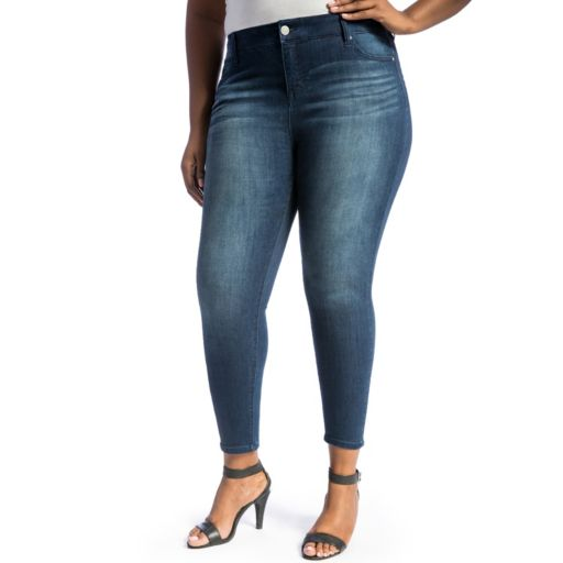 Juniors' Plus Size Crave Whiskered Ankle Skinny Jeans