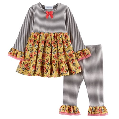 Baby Girl Bonnie Jean Flower & Stripe Tunic & Leggings Set
