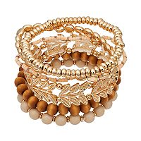 Wooden Bead & Leaf Link Stretch Bracelet Set