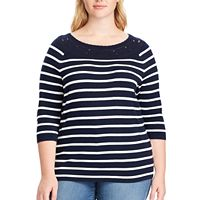 Plus Size Chaps Lace-Trim Striped Boatneck Sweater