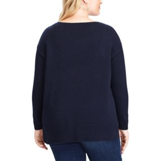 Plus Size Chaps Flag Boatneck Sweater