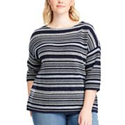 Plus Size Chaps Striped Crewneck Sweater