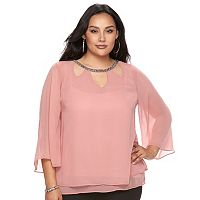 Plus Size Jennifer Lopez Cutout Chiffon Top