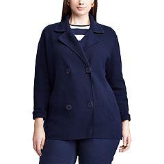 Plus Size Chaps Combed Cotton Sweater Blazer