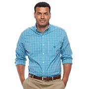 Big & Tall Chaps Regular-Fit Plaid Stretch Poplin Button-Down Shirt