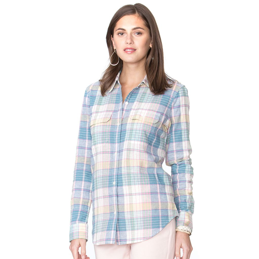 Petite Chaps Plaid Twill Button-Down Shirt