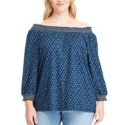 Plus Size Chaps Floral Off-the-Shoulder Top