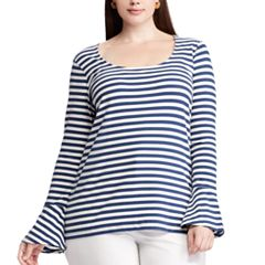 Plus Size Chaps Striped Bell Sleeve Top