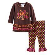 Baby Girl Bonnie Jean Thanksgiving Turkey Tunic & Leggings Set