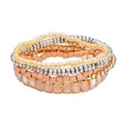 Peach Beaded Stretch Bracelet Set