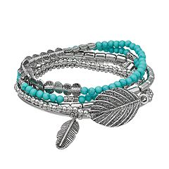 Simulated Turquoise Beaded Leaf Charm Stretch Bracelet Set
