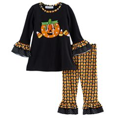 Baby Girl Bonnie Jean Halloween Pumpkin Top & Candy Corn Leggings Set