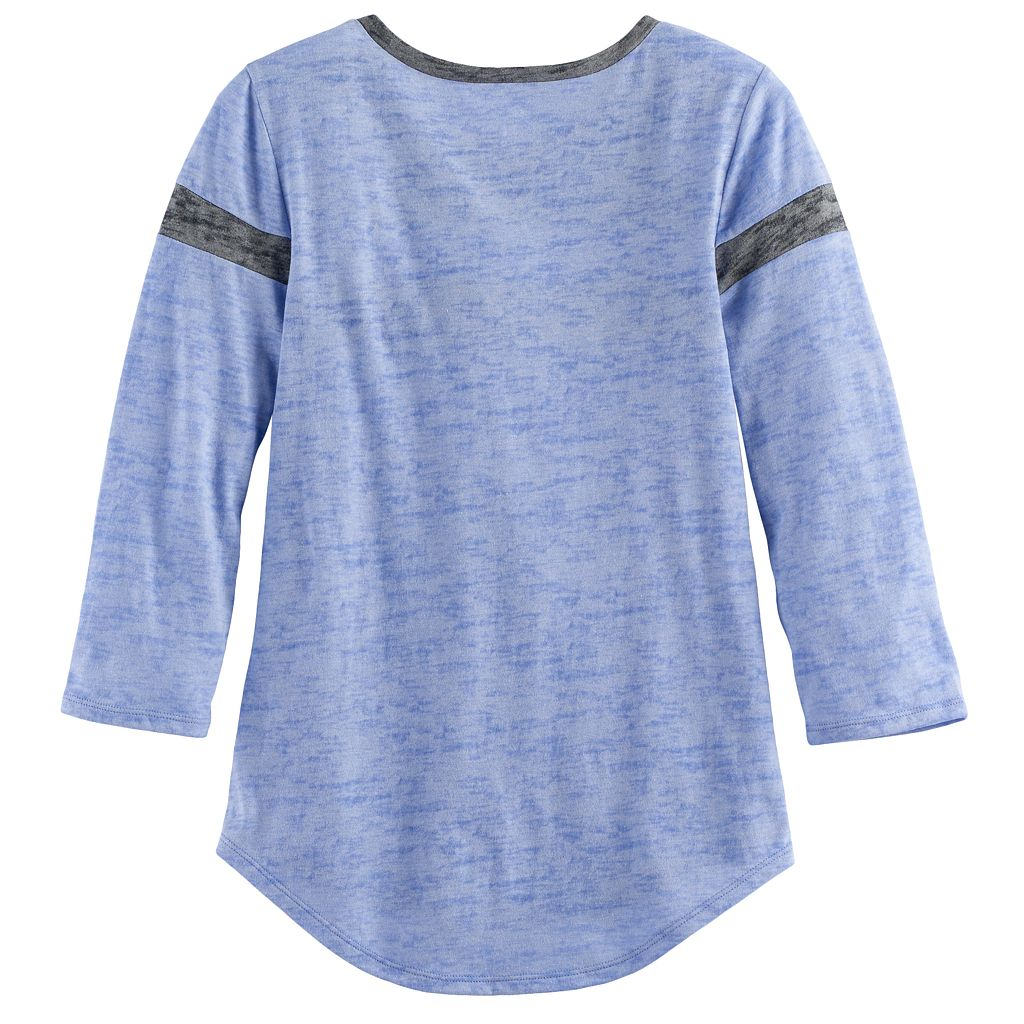 Girls 7-16 & Plus Size SO® 3/4 -Sleeve Colorblock Football Tee