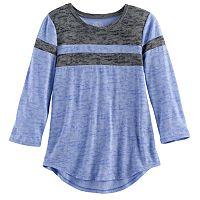 Girls 7-16 & Plus Size SO® 3/4 -Sleeve Colorblock Football Tee