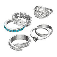 Teal Stone, Filigree, Leaf & Teardrop Ring Set