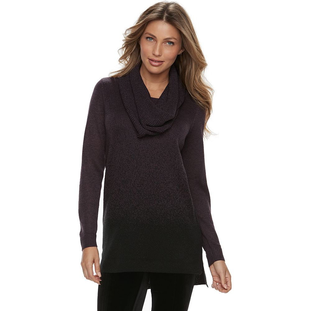 Apt. 9® Ombre Removeable Scarf Tunic Sweater