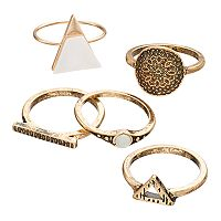 Antiqued Triangle, Medallion & Bar Ring Set