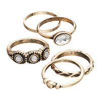 Antiqued Oval & Wavy Ring Set