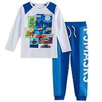Toddler Boy PJ Masks 2-pc. Comic Strip Catboy, Gekko & Owlette Tee & Jogger Pants Set