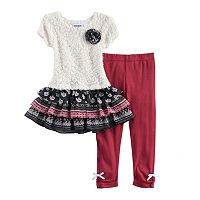 Baby Girl Blueberi Boulevard Ruffled Tiered Skirt Sweater Dress & Bow Leggings Set