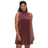 Juniors' Plus Size Mudd® Velvet Swing Dress