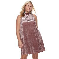 Juniors' Plus Size Mudd® Burnout Velvet Swing Dress