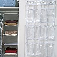 Simplify Crystal Clear 12-Pocket Hanging Shoe Storage Caddy
