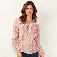 Women's LC Lauren Conrad Shirred Peasant Top