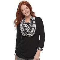 Women's ELLE™ Ruched Tee & Scarf Set
