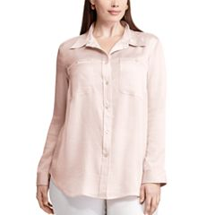 Plus Size Chaps Satin Button-Down Shirt