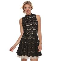 Juniors' Three Pink Hearts Lace Tulle Mockneck A-Line Dress