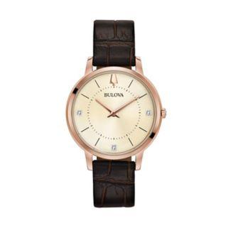 Bulova Women's Classic Diamond Leather Watch - 97P122