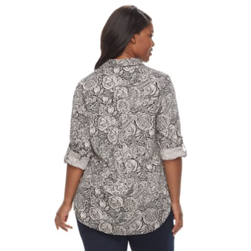 Plus Size Rock & Republic® Printed Drapey Roll Cuff Top