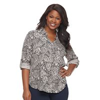 Plus Size Rock & Republic® Printed Drapey Roll Cuff Top