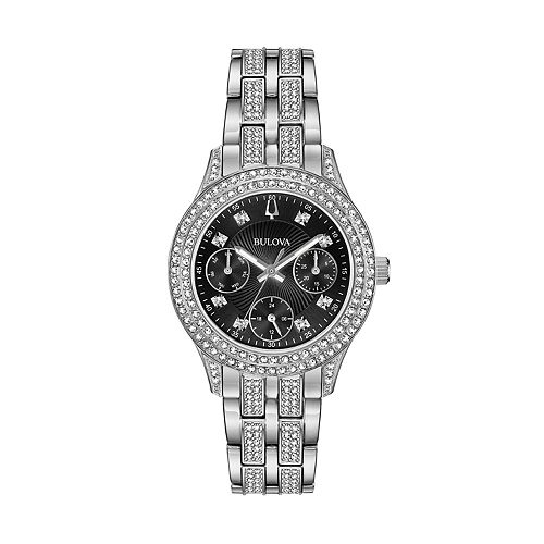 Bulova women 39 s crystal stainless steel watch 96n110 for Watches kohls