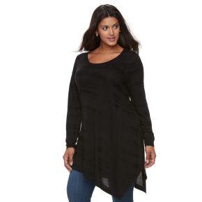 Plus Size Apt. 9® Textured Asymmetric Hem Tunic Top