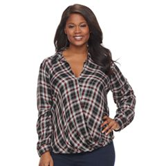 Plus Size Rock & Republic® Twist Front Drape Shirt