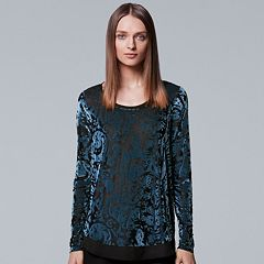 Petite Simply Vera Vera Wang Velvet Burnout Top