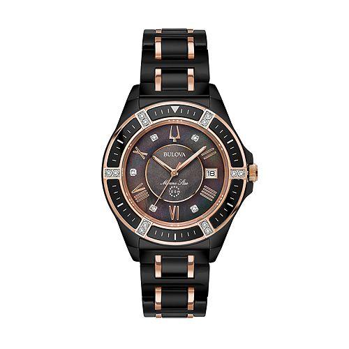 Bulova women 39 s marine star diamond ceramic watch 98r242 for Watches kohls