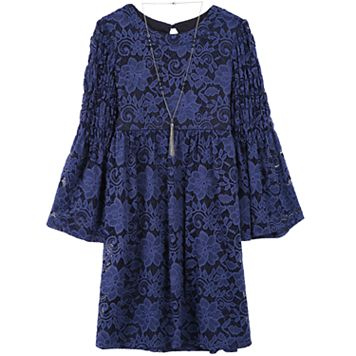 Girls 7-16 Speechless Bell Sleeve Lace Babydoll Dress with Necklace