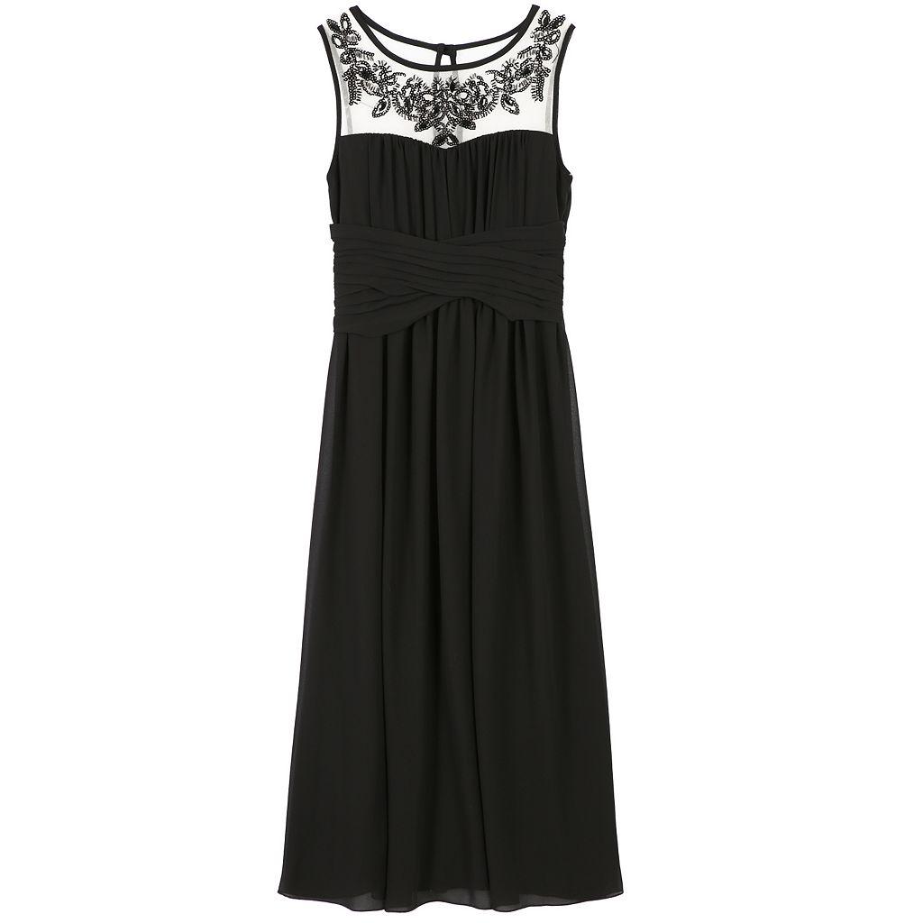 Girls 7-16 Speechless Embellished Illusion Neckline Maxi Dress