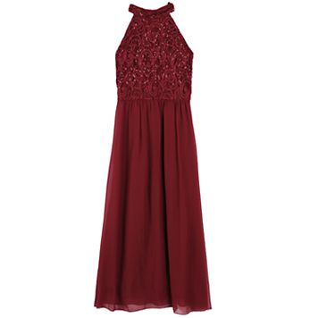 Girls 7-16 Speechless High Neck Sequin Maxi Dress