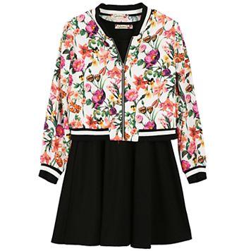 Girls 7-16 Speechless Floral Bomber Jacket & Solid Skater Dress
