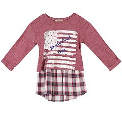 Girls 7-16 Speechless 'Young and Free' Mock-Layered Plaid Top